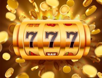 Slots i guld med flygande guldmynt runtomkring
